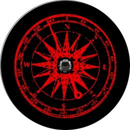 Wrangler JL Distressed Red Compass Spare Tire Cover - Back Up Camera Ready