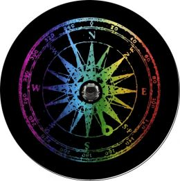 Wrangler JL Distressed Rainbow Compass Spare Tire Cover - Back Up Camera Ready