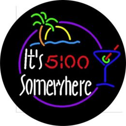 It's 5 o'clock Somewhere Neon Spare Tire Cover