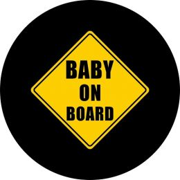 Baby on Board Spare Tire Cover on Black Vinyl