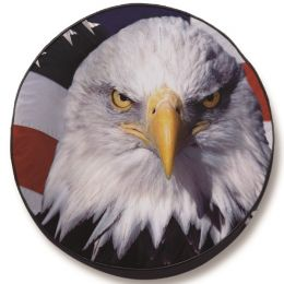 Eagle Head with Flag Background Spare Tire Cover - Black Vinyl