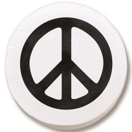 Peace Sign Spare Tire Cover on White Vinyl