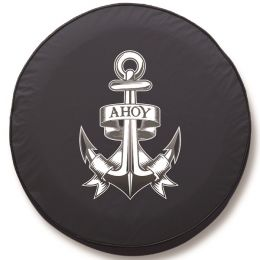 Anchor Ahoy Spare Tire Cover - Black Vinyl