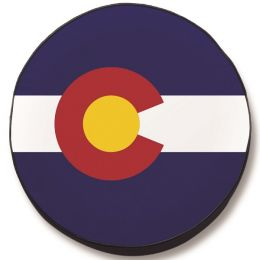 Colorado State Flag Closeup Spare Tire Cover - Black Vinyl