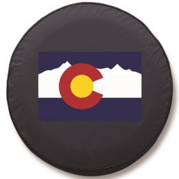 Colorado State Flag Spare Tire Cover - Black Vinyl