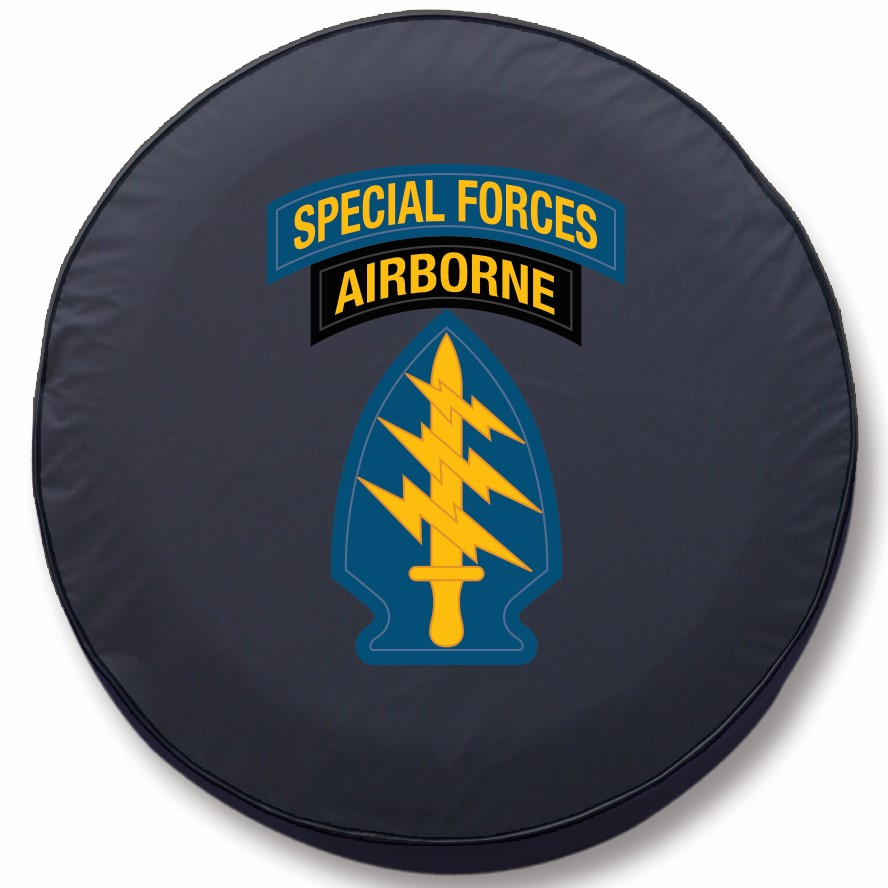 US Army Tire Cover w/ Special Forces Airborne Logo - Black ...