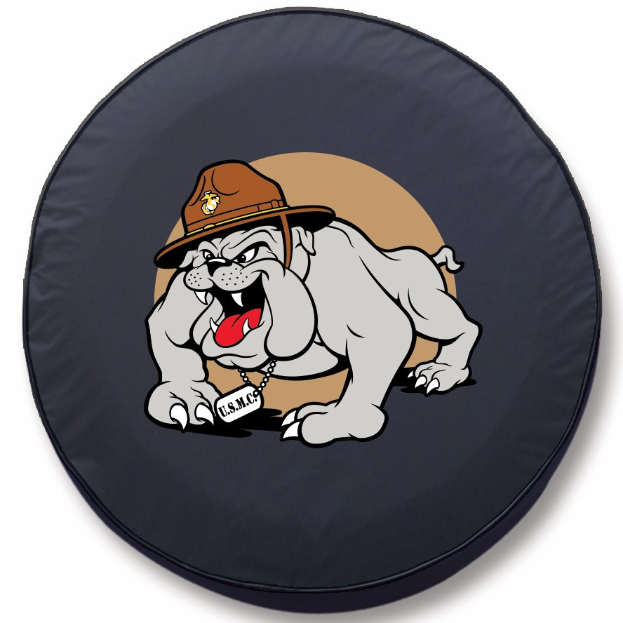Usmc Marines Tire Cover W Bulldog Military Logo Black Vinyl