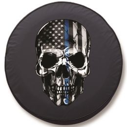Back the Blue Skull Spare Tire Cover