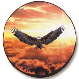 Divine Background with Eagle Spare Tire Cover - Black Vinyl