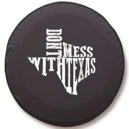 Don't Mess with Texas B&W Spare Tire Cover - Black Vinyl