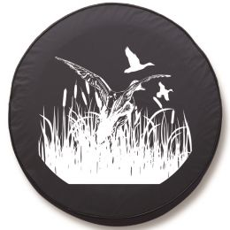 Ducks in Flight Tire Cover - Black Vinyl