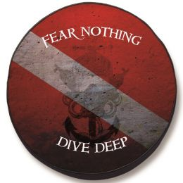 Divers Symbol Quote Spare Tire Cover - Black Vinyl