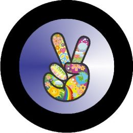 Hippie Peace Sign Blue Spare Tire Cover
