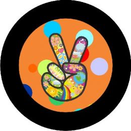 Hippie Peace Sign Orange Spare Tire Cover