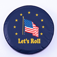 American Flag Let's Roll Blue Tire Cover