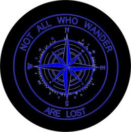 Not All Who Wander Compass Tire Cover - Blue Graphic