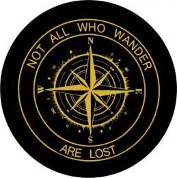 Not All Who Wander Compass Spare Tire Cover - Gold Graphic