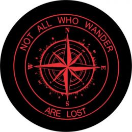 Not All Who Wander Compass Tire Cover - Red Graphic