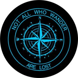 Not All Who Wander Compass Tire Cover - Teal Graphic