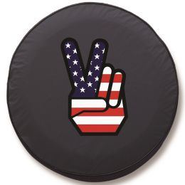 Patriotic Peace Sign Spare Tire Cover - Black Vinyl
