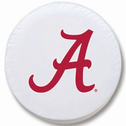 Alabama Tire Cover w/ Crimson Tide Logo - White Vinyl