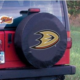 Anaheim Tire Cover w/ Ducks Logo - Black Vinyl