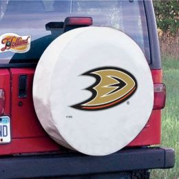 Anaheim Tire Cover w/ Ducks Logo - White Vinyl