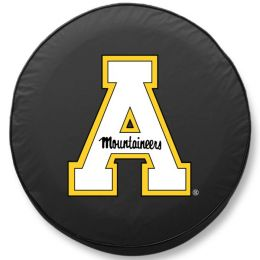Appalachian State Tire Cover w/ Mountaineers Logo - Black Vinyl