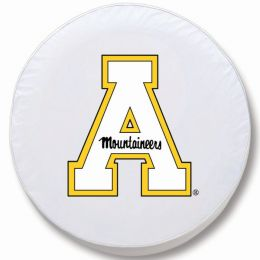 Appalachian State Tire Cover w/ Mountaineers Logo - White Vinyl