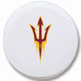 Arizona State Tire Cover w/ Pitchfork Logo - White Vinyl