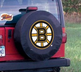Boston Tire Cover w/ Bruins Logo - Black Vinyl