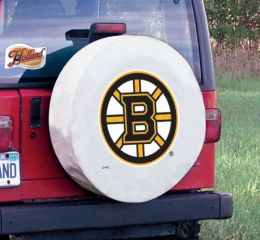 Boston Tire Cover w/ Bruins Logo - White Vinyl