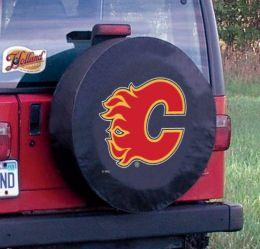 Calgary Tire Cover w/ Flames Logo - Black Vinyl