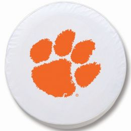 Clemson Tire Cover w/ Tigers Logo - White Vinyl