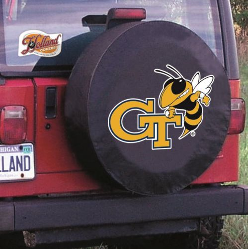 HBS Georgia Tech Tire Cover with Yellow Jackets Logo on Black