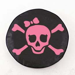 Jolly Roger Girl Pink on Black Spare Tire Cover