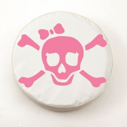 Jolly Roger Girl Pink on White Spare Tire Cover