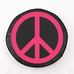 Pink Peace on Black Spare Tire Cover