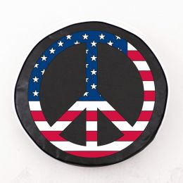 USA Peace Sign on Black Spare Tire Cover