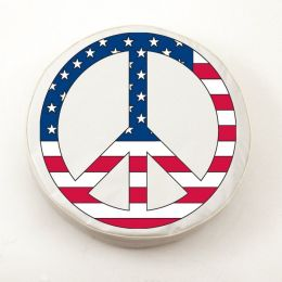 USA Peace Sign on White Spare Tire Cover