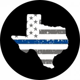 Texas Thin Blue LIne Tire Cover on Black Vinyl