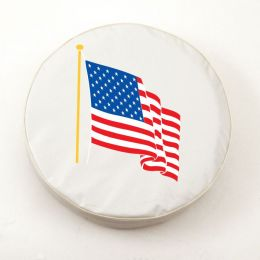 American Flag White Tire Cover