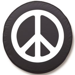 Peace Sign Spare Tire Cover on Black Vinyl