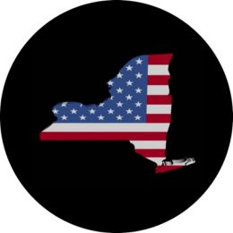 New York Flag Tire Cover on Black Vinyl