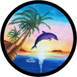 Dolphin Over Sunset Spare Tire Cover on Black Vinyl