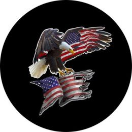 Eagle Tattered Flag Spare Tire Cover
