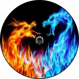 Fire and Ice Dragons Spare Tire Cover - Back Up Camera Ready