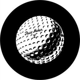 Golf Ball Spare Tire Cover on Black Vinyl