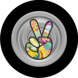 Hippie Peace Sign Gray Spare Tire Cover