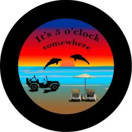 Black Jeep It's 5 O'Clock Somewhere Spare Tire Cover